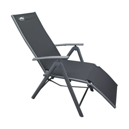 Moustache Garden Chaise Lounge chair Zero Gravity Camping Relax Chair , Heavy-Duty Rocking Reclining Chair Lounge Seat, Gray - 1/Pack - image 7 of 7