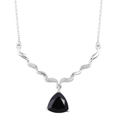 Necklace 925 Sterling Silver Platinum Plated Black Spinel Zircon Gift Jewelry for Women Size 18
