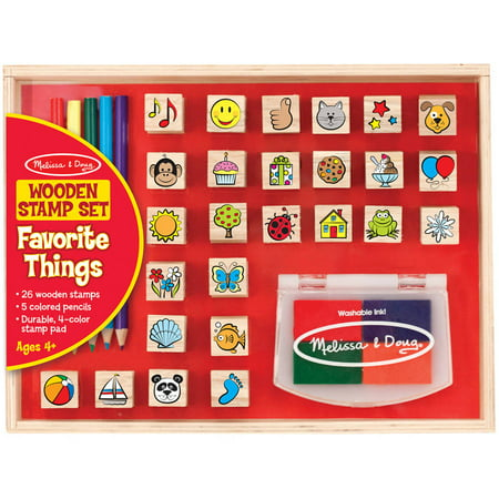 Melissa & Doug Wooden Stamp Set, Favorite Things, 26 Wooden Stamps, 4-Color Stamp