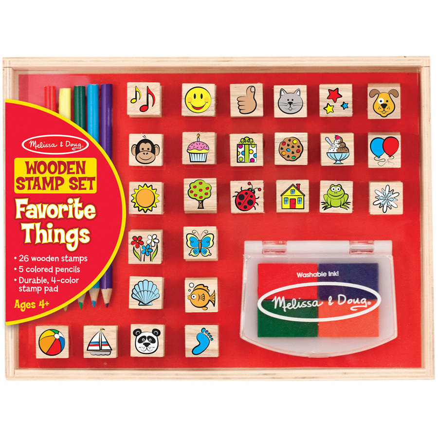 Melissa & Doug Wooden Stamp Set, Favorite Things, 26 Wooden Stamps, 4-Color Stamp Pad