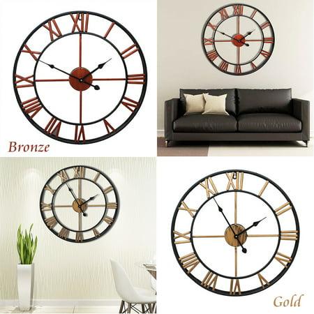 45 cm Large Retro Black Iron Art Hollow Wall Clock Roman Numerals Home Decor ()