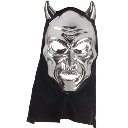 Star Power Adult Reflective Hooded Devil Face Mask, Silver, One-Size - Devil Face Mask