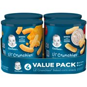 (4 Canisters) Gerber Lil' Crunchies Mild Cheddar & Veggie Dip Baked Corn Snack Variety Pack, 1.48 oz