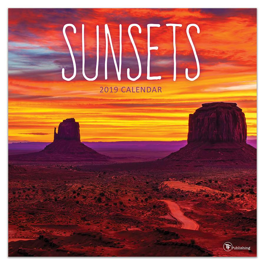 """2019 Sunsets 12"""" x 12"""" January 2019-December 2019 Wall Calendar by TF Publishing"""