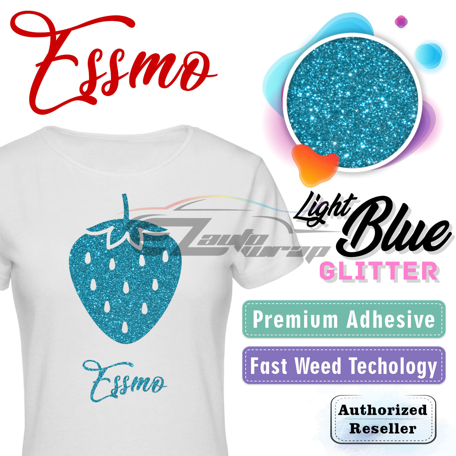 "ESSMO Light Blue Glitter Heat Transfer Vinyl HTV Sheet T-Shirt 20"" Wide Iron On Heat Press 20""x12"""