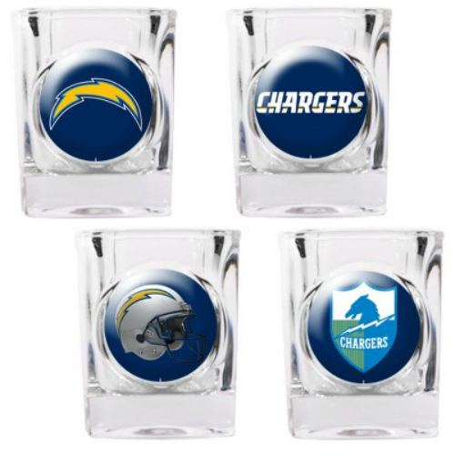Great American Products San Diego Chargers Shot Glass Set 4pc Collectors Shot Glass Set