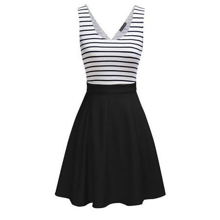 Fashion Backless Sleeveless Black White Striped Navy Style Dress V-neck Pump Swing Short Skirt