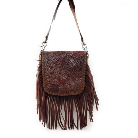 Western Genuine Leather Floral Tooled Fringe Womens Crossbody Bag In Multi Color ()