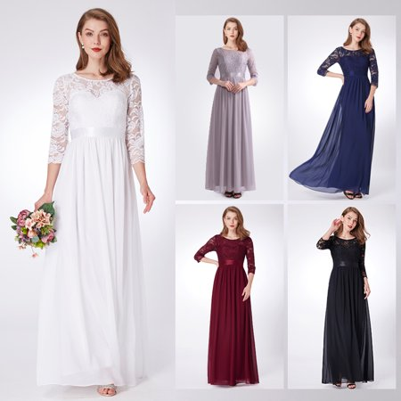 Ever-Pretty Womens Floral Lace Chiffon Long Evening Party Bridesmaid Dresses for Women 74123 Blush US4