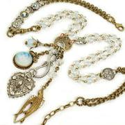 Sweet Romance  Moon Heart Bird Charm Opal Beads Necklace