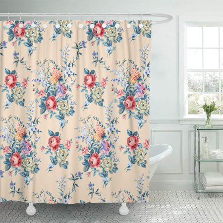 KSADK Floral Rose Flower Lace Traditional Vintage Upholstery Antique Aristocratically Bathroom Shower Curtain 60x72 -