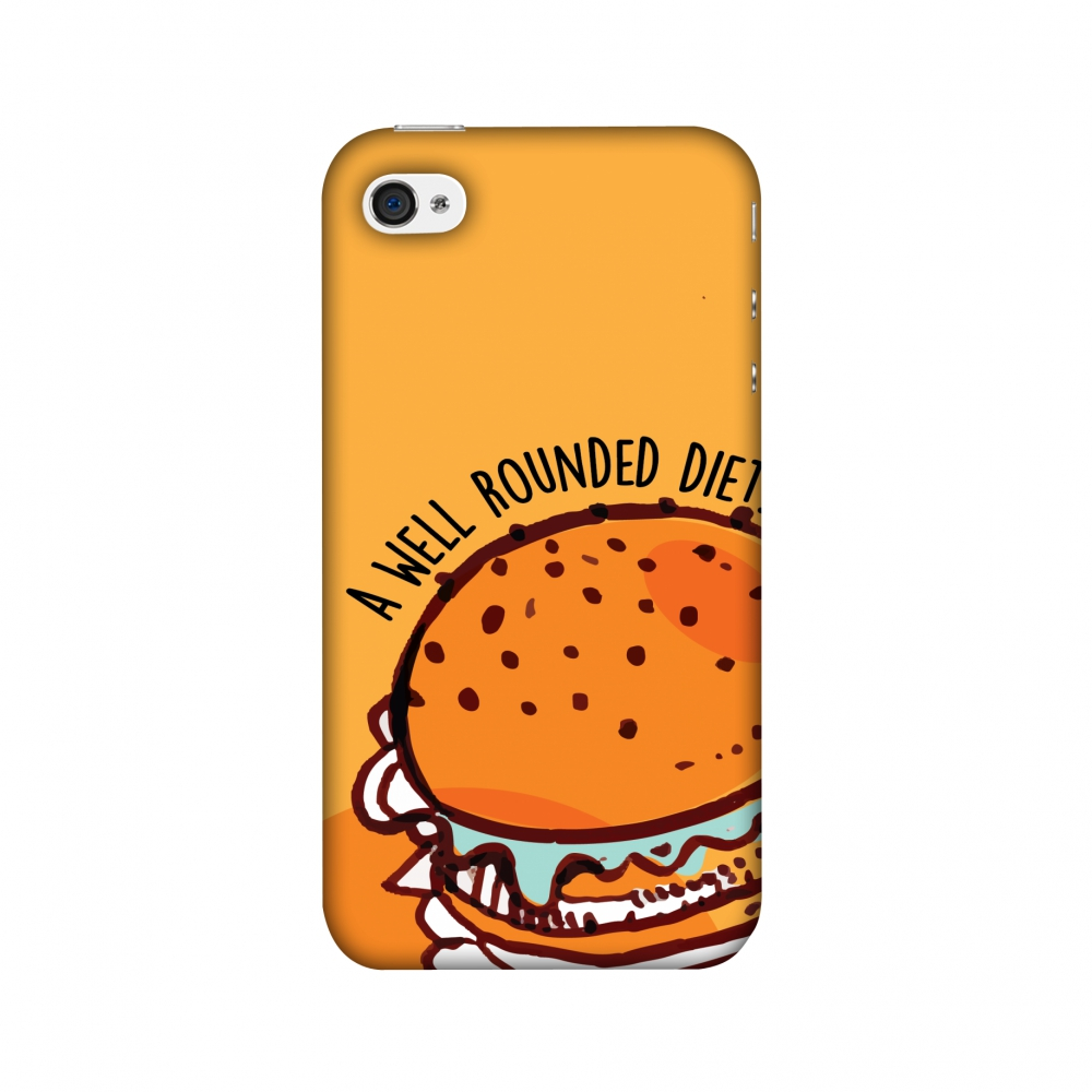 iPhone 4S Case, iPhone 4 Case - Burger,Hard Plastic Back Cover, Slim Profile Cute Printed Designer Snap on Case with Screen Cleaning Kit