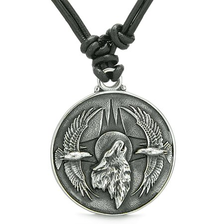 Amulet Howling Wolf Eagles Wild Moon Powers Charm Leather Pendant Necklace (Amulet Pendant Necklace)