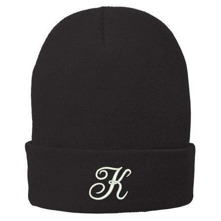 Trendy Apparel Shop Letter K Embroidered Winter Knitted Long Beanie