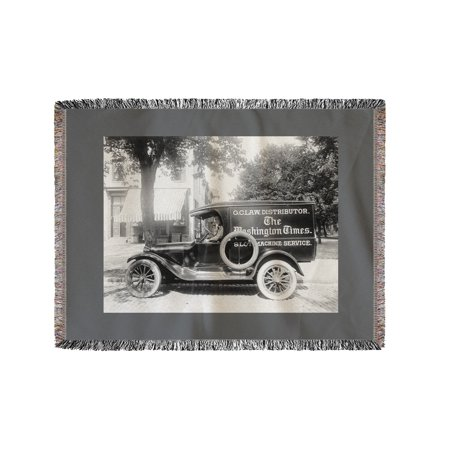 Washington Times Newspaper Truck Photograph  60X80 Woven Chenille Yarn Blanket