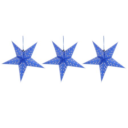 Festival Paper Star Shaped DIY Decor Christmas Tree Hanging Ornaments Blue 3 Pcs