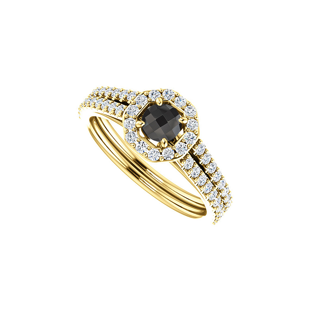 Double Row CZ Black Onyx Halo Ring in 18K Gold Vermeil - image 2 of 2