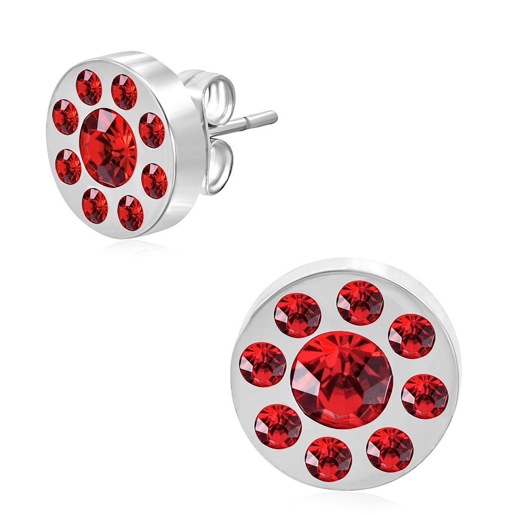 10mm Stainless Steel Burnish Set Round Circle Stud Earrings with Red CZ pair
