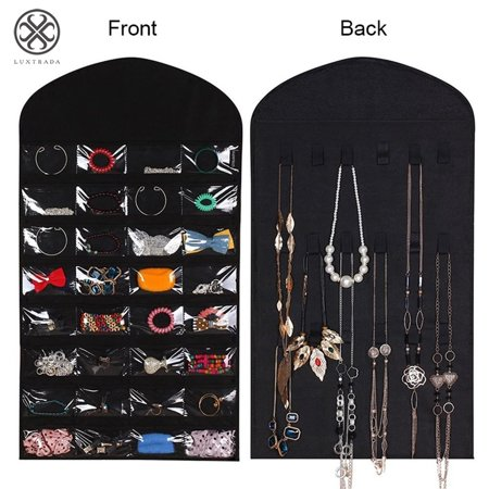 Luxtrada 32 Pockets Foldable Jewelry Necklace Hanging Bag Dual Sided Storage Organizer Display Case Bag with Clear PVC Window (Black) - Side Hanging Display