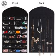 Luxtrada 32 Pockets Foldable Jewelry Necklace Hanging Bag Dual Sided Storage Organizer Display Case Bag with Clear PVC Window (Black)