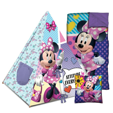 Disney Minnie Mouse Teepee sleeping bag set with BONUS pillow
