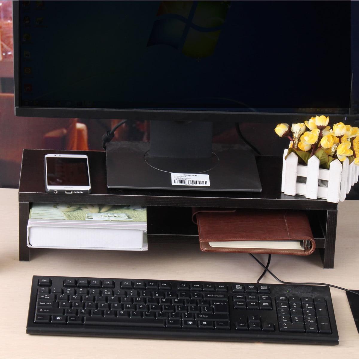 Desktop Monitor Stand Shelf Tidy Plinth TV LCD Laptop PC Screen Riser Storage