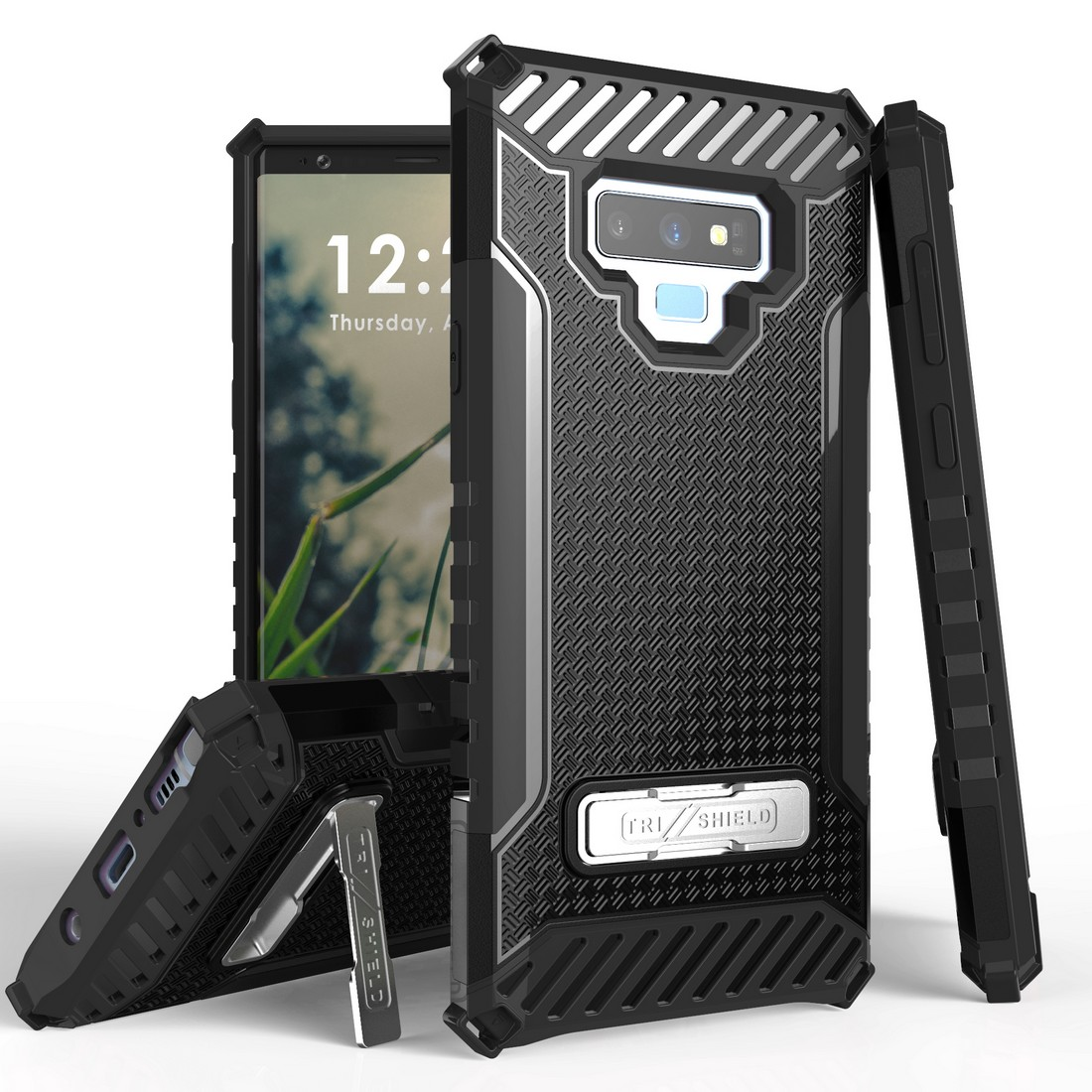 Beyond Cell Military Grade Drop Tested [MIL-STD 810G-516.6] Kickstand Rugged Cover Armor Case and Atom Cloth Samsung Galaxy Note 9 - Black