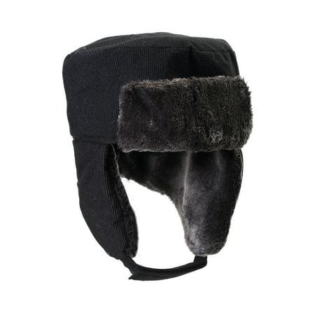 Washed Corduroy Cap (Ushanka Faux Fur Trapper Winter Flight Trooper Hat Cap - BLACK CORDUROY)