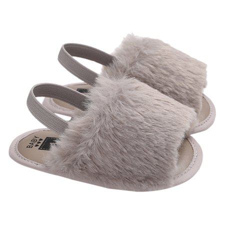Baby Girls Faux Fur Slide Sandal Fluffy Slippers With Back Strap Soft Sole Non-Slip Toddler Shoes Prewalker Grey 12cm For 6-12 Months - Glass Slippers Are So Back