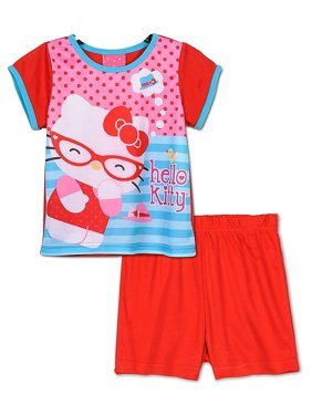 Hello Kitty Girls Toddlers Pajama Set Sizes 2T-4T, Red, Size: 2T
