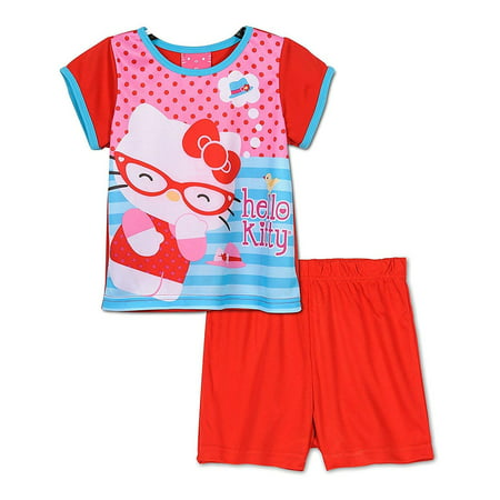 Hello Kitty Girls Toddlers Pajama Set Sizes 2T-4T, Red, Size: 2T ()