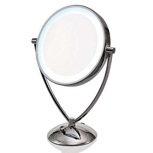 Ovente MLT45CH Dimmable LED Lighted Tabletop Vanity Mirror, 9.5 Inch, 1x/10x Magnification, Chrome