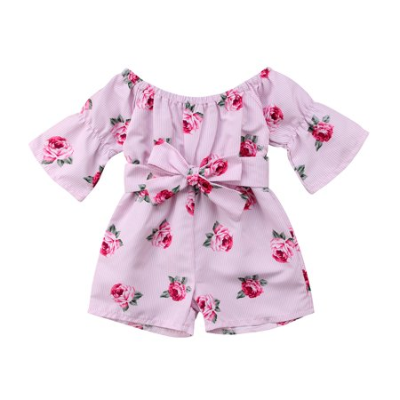 Toddler Kids Baby Girl Flower Print Romper Bodysuit Jumpsuit Sunsuit Summer Outfits Clothes 6-12 Months