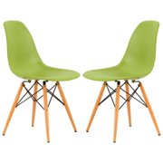LeisureMod  Dover Green Plastic Molded Dining Chair Wood Dowel Legs (Set of 2)