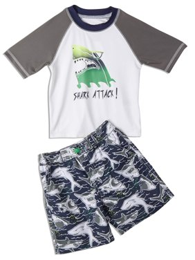 iXtreme Boys 4-7 Short Sleeve Rash Guard Swim Shirt and Swim Trunks, 2-Piece Set