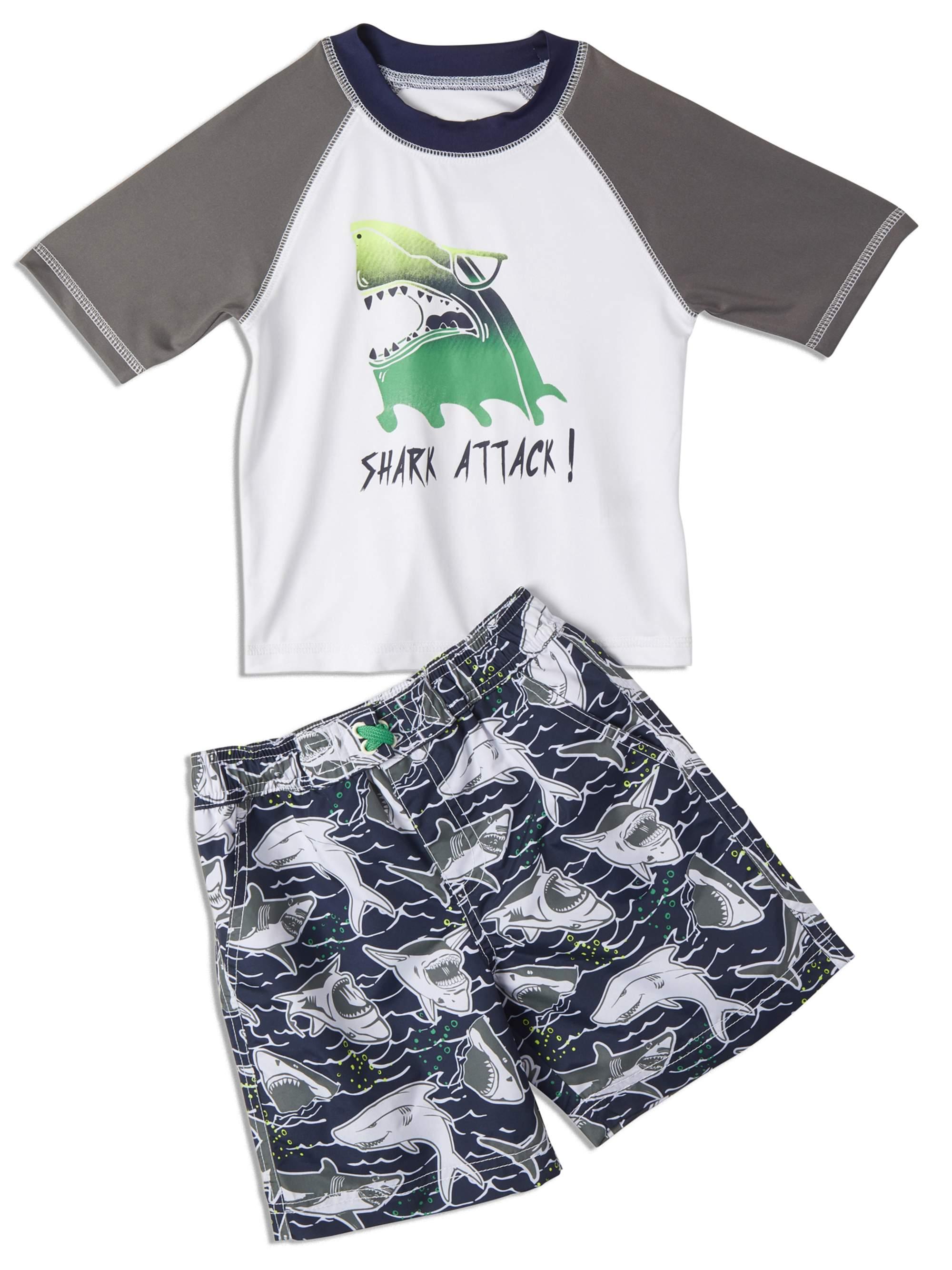 Quicksand Boys 2-Piece UPF 50 Rash Guard and Swimsuit Trunks Set