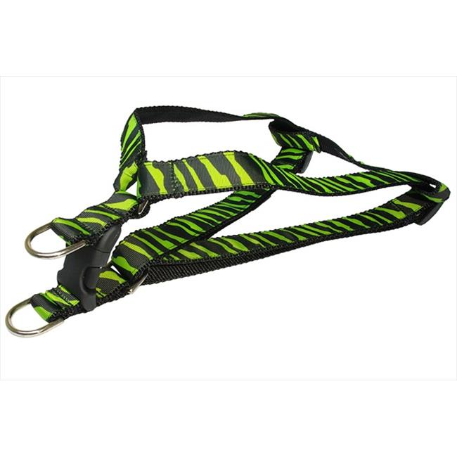 ZEBRA-GREEN-BLK.2-H Zebra Dog Harness, Green & Black - Small