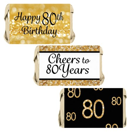 80th Birthday Party Decoration Stickers for Hershey's Miniatures Candy Bars - Gold and Black - 45 Labels