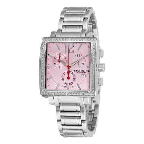 Stuhrling Original Women's 316L.12114 Lady Regent Royale Swiss Quartz Chronograph Diamond Pink Dial Watch