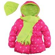 Pink Platinum Little Girls' Big Polka Dots Puffer Jacket Scarf and Hat Set