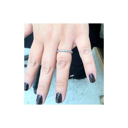 1/2ct Treated Blue & White Diamond Eternity Ring 14K White Gold - image 2 de 3