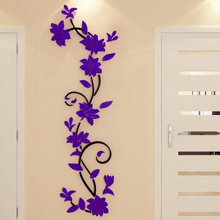 DIY 3D Crystal Arcylic Wall Stickers Modern Removable Wall Art Floral Design for Living Room Bedroom Bathroom Home Restaurant Decor Sticker