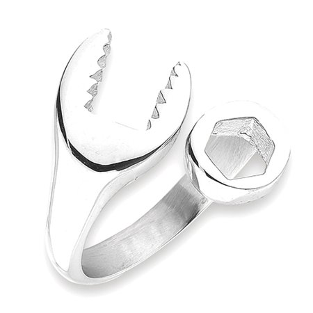 Open Wrench Mechanic Bolt Wrap Tool Ring ( Sizes 6 7 8 9 10 11 12 13 ) New Stainless Steel Band Rings by Sac Silver (Size 13) ()