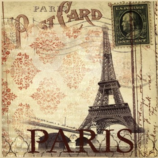 Paris Postcard Poster Print by Dee Dee (12 x 12)