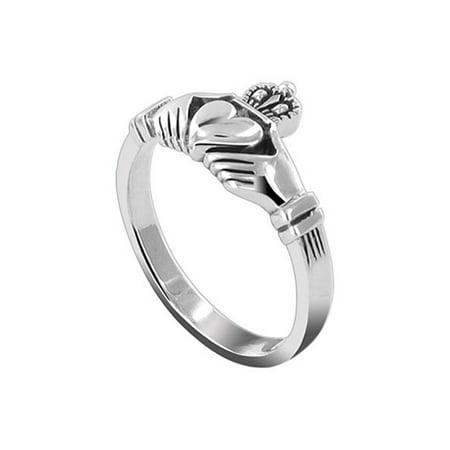 Celtic Gem - Gem Avenue 925 Sterling Silver Celtic Knot Claddagh Shape Ring