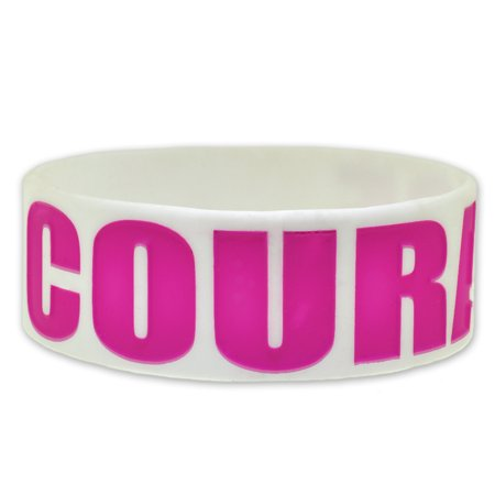 PinMart's COURAGE Breast Cancer Awareness Rubber Silicone (Breast Cancer Silicone Bracelets)
