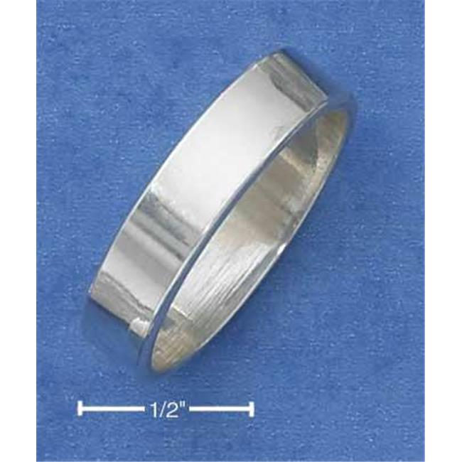Sterling Silver Flat 6mm High Polish Wedding Band Ring - Size 7