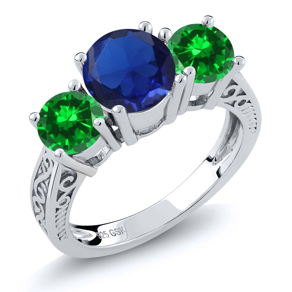 3.35 Ct Blue Simulated Sapphire Green Simulated Emerald 925 Silver 3-Stone Ring