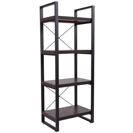 Flash Furniture Thompson Collection Charcoal Wood Grain Finish Bookshelf With Black Metal Frame