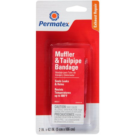 - 80331 Muffler and Tailpipe Bandage, 84 sq. in., Permanently Muffler in exhaust Tailpipe 120 80332 inches repairs leaks 80331 Bandage systems and 84 sq holes By Permatex